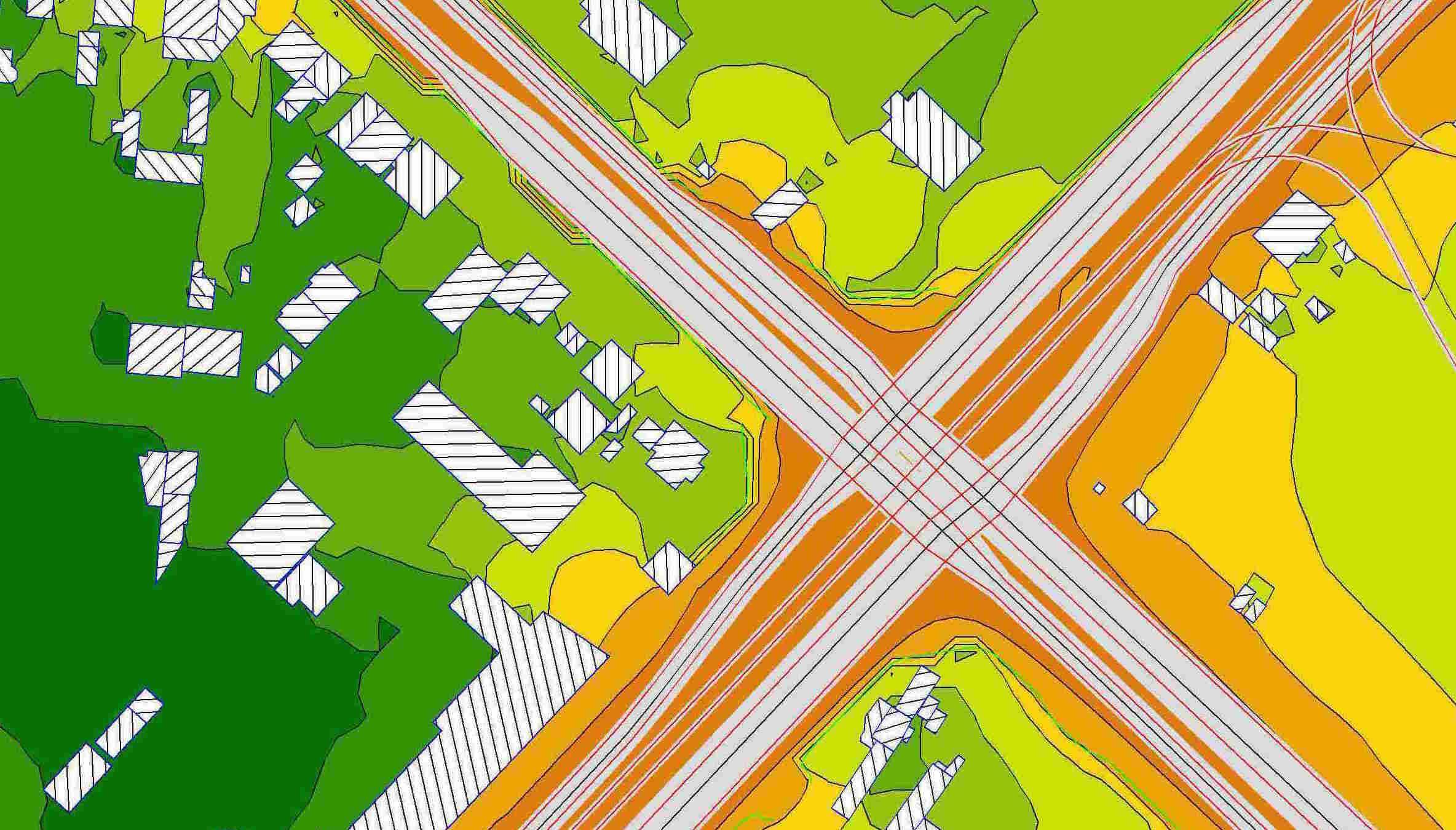 mapa hałasu skrzyżowanie dróg